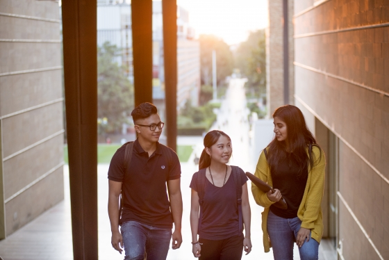 Three students walking up the UNSW walkway