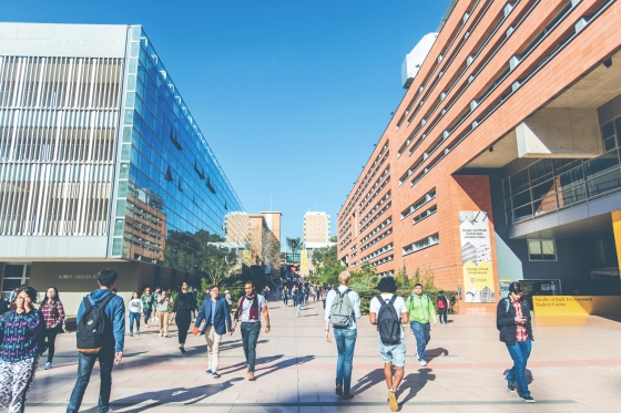 UNSW Sydney walkway filled with Postgraduate students