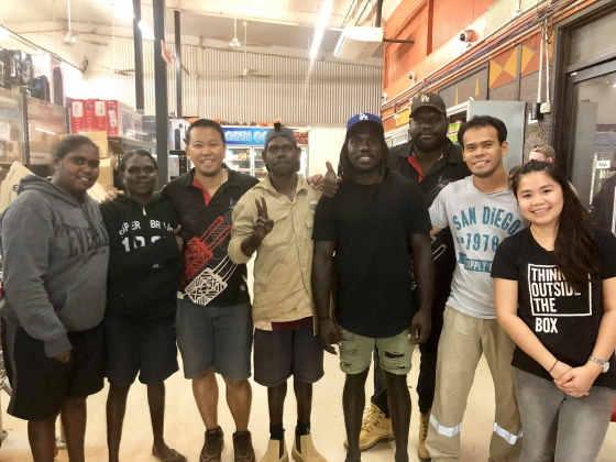 NUA-staff-and-Essendon-Bombers'-Anthony-Macdonald-Tipungwuti,-who-grew-up-in-the-Tiwi-Islands