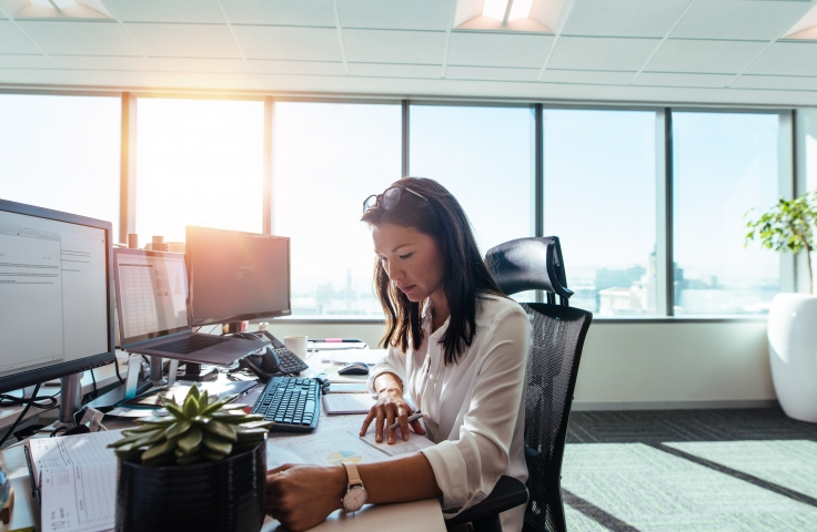 A woman sitting at a desk whilst sun shines through the window