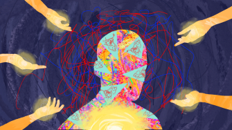 coloured shapes and lines swirling around the silhouette of a head