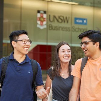 Students and teachers ouside the business school Kensington UNSW