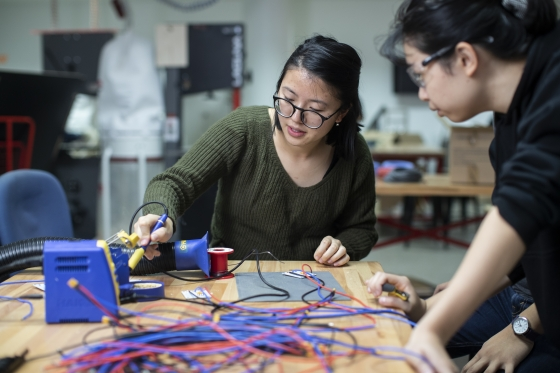 Students working on a project in an Engineering Makerspace