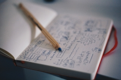 pen in notebook