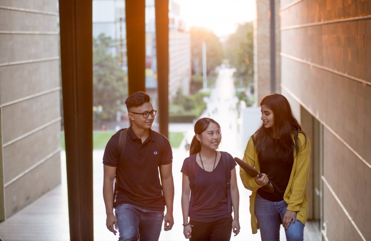 three students walking on unsw campus