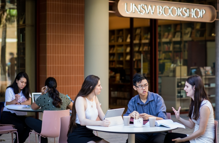 food science students sitting in front of the unsw bookshop