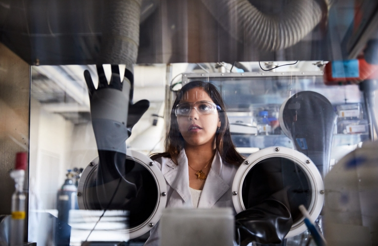 Female engineer working in a lab