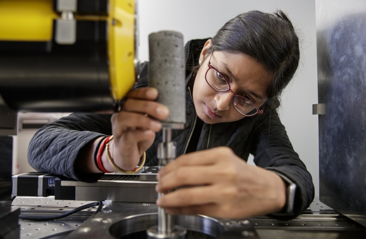 Female student working on her engineering project