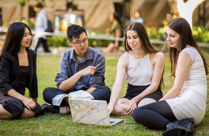 A group of students sitting on the grass at UNSW Kensington campus