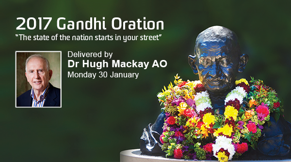 2017 Gandhi Oration delivered by Dr Hugh Mackay AO image